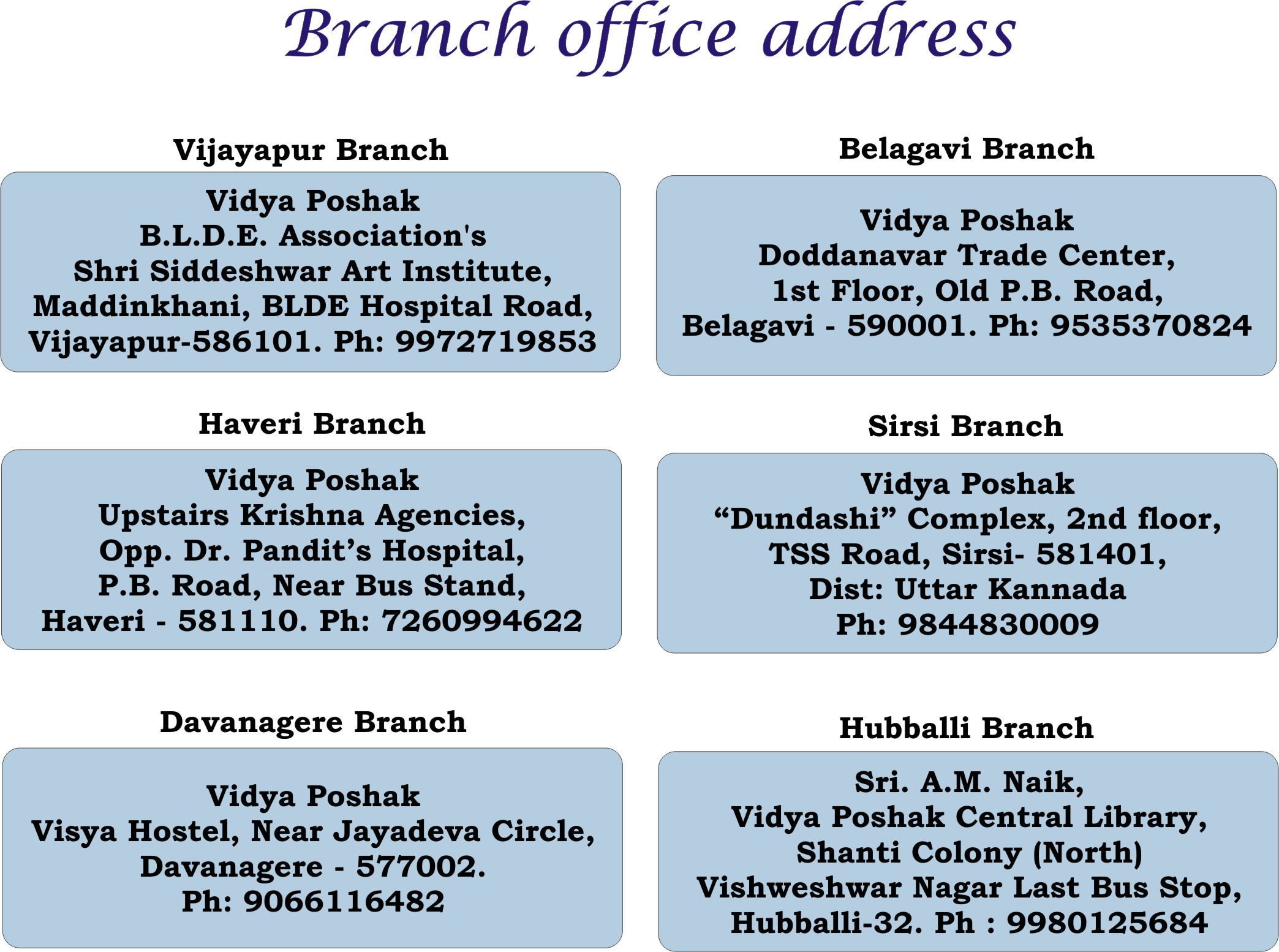 Branch office Address